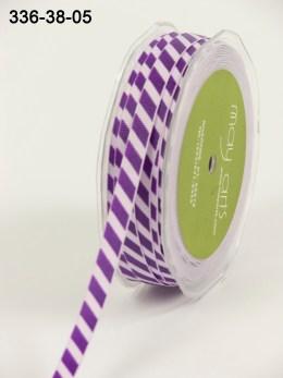Variation #154080 of 3/8 Inch Grosgrain Ribbon w/ Diagonal Stripes Ribbon