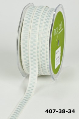 Variation #154820 of 3/8 Inch Solid Ivory/ Woven Check Ribbon