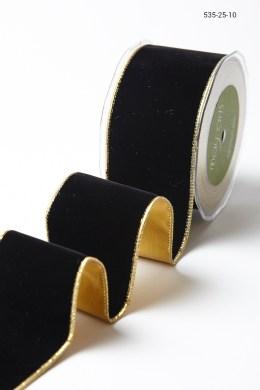 Variation #156037 of 2.5 Inch Velvet Ribbon With Gold Backing