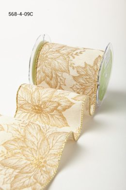 Variation #184660 of 4 Inch Wired Canvas w/ Gold Glitter Print Ribbon