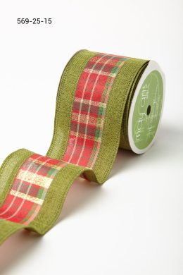 Variation #184677 of 2.5 Inch Plaid w/ Solid Edges Ribbon
