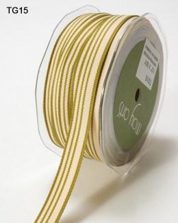 Olive and Ivory Grosgrain Variegated Stripes Ribbon