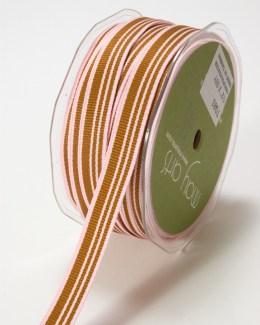 Pink and Brown Grosgrain Variegated Stripes Ribbon