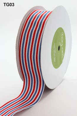 Red,White and Blue Grosgrain Variegated Stripes Ribbon
