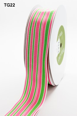 Pink,Green and White Grosgrain Variegated Stripes Ribbon