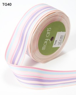 Lavender,Pink and Blue Grosgrain Variegated Stripes Ribbon
