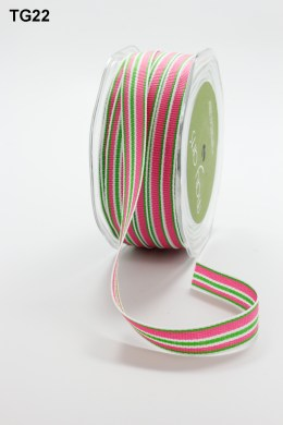 Parrot Green,Fuchsia and White Grosgrain Variegated Stripes Ribbon
