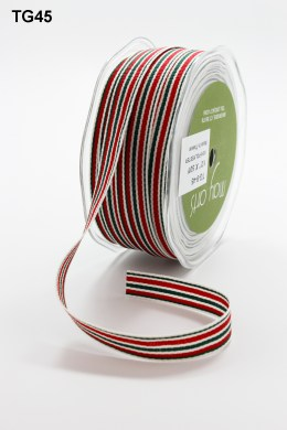 Red,Green and Ivory Grosgrain Variegated Stripes Ribbon