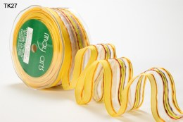 Yellow Sheer Lines Wired Ribbon