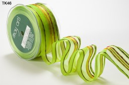 Parrot Green Sheer Lines Wired Ribbon