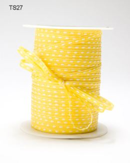 Yellow Solid Stitched Center Ribbon
