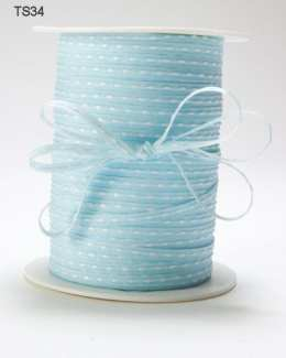 Light Blue Solid Stitched Center Ribbon