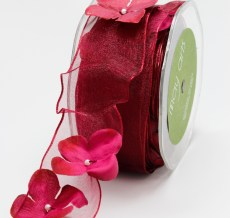 Burgundy Flowers/Pearl Center/Wired Ribbon