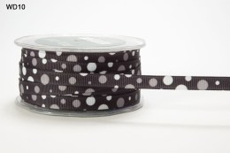 Black and White Grosgrain Bubble Dot Ribbon