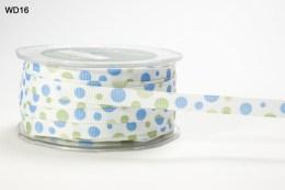 White,Olive and Light Blue Grosgrain Bubble Dot Ribbon