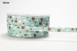 Teal,Brown and White Grosgrain Bubble Dot Ribbon