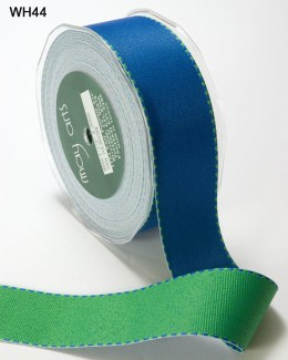 Blue and Green Grosgrain Reversible Ribbon