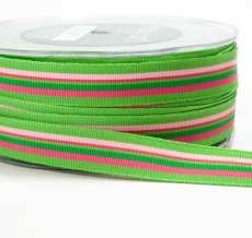 Parrot Green,Pink and Fuchsia Grosgrain Variegated Stripes Ribbon
