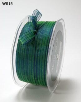 Green and Blue Sheer Iridescent Pinstripe Ribbon