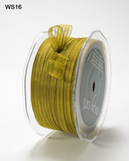 Olive and Gold Sheer Iridescent Pinstripe Ribbon