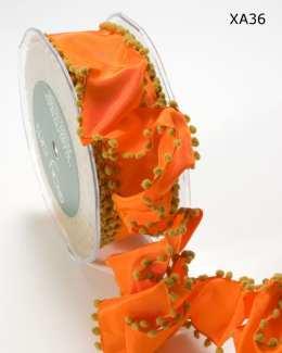 Orange and Olive Solid Pom Pom Edge (wired) Ribbon