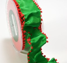 Green and Red Solid Pom Pom Edge (wired) Ribbon