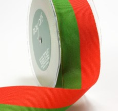 Red and Green Grosgrain Two Band Ribbon