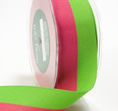 Light Fuchsia and Parrot Green Grosgrain Two Band Ribbon