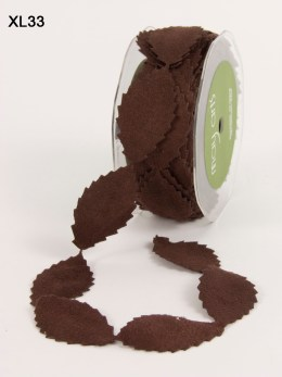 Brown Faux Suede Leaves Ribbon