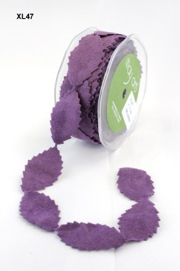 Purple Faux Suede Leaves Ribbon
