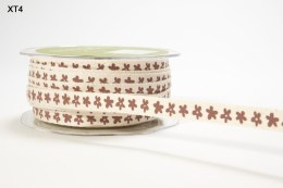 Brown Flowers Ivory Twill / Print Ribbon