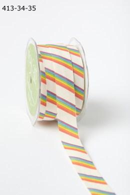 Rainbow Cotton Ivory Canvas with Fun Print Ribbon