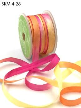 fuchsia orange yellow tie dye silk ribbon