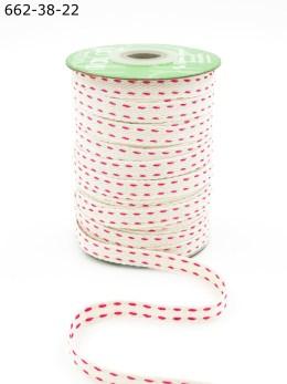 double fuchsia pink stitched cotton ribbon
