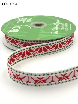 white and red and green geo print woven ribbon