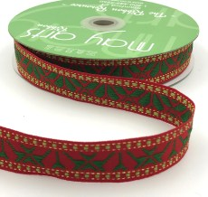 red and green geo print woven Christmas ribbon