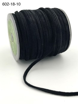 black 100% leather string suede cord