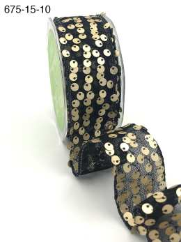 black and gold sequin net tulle wired ribbon