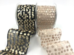 """2.5"""" net tulle sequin wired ribbons"""