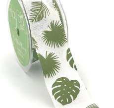 ivory tropical leaf banana leaf linen ribbon