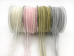 "5/8"" pearl lace metallic ribbons"