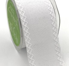 white linen stitched white diamond wide ribbon