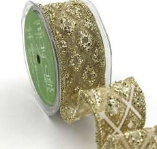 gold diamond glitter organza wired ribbon