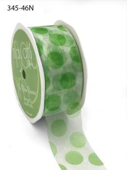 white organza ribbon with jumbo parrot green polka dots