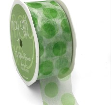 white organza ribbon with jumbo parrot green polka dots