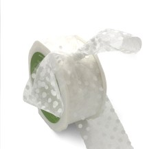 white organza ribbon with white polka dots