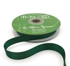 green glitter sparkle woven ribbon