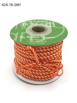 orange and white woven diagonal stripe ribbon