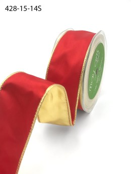 red and gold metallic gold satin ribbon