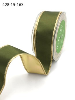 olive green and gold metallic reversible satin ribbon